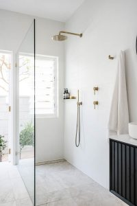 Hand held shower head Just In Place Gold Shower Sydney