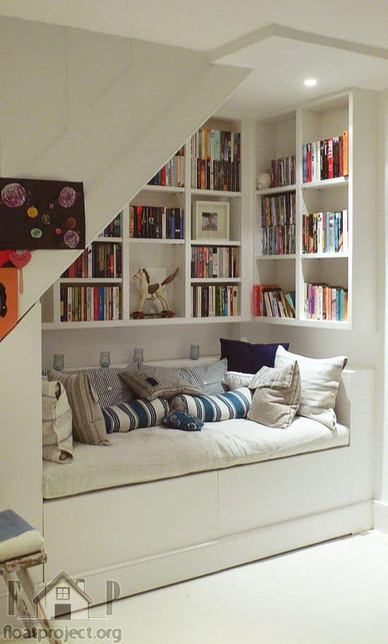 Under stairs Great Ideas Seating design reading nook bookcase hamptons