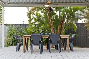 low maintenance outdoor entertainment area